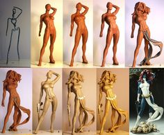 Mystique Progression by *TKMillerSculpt on deviantART