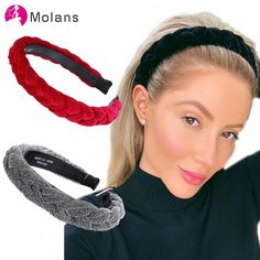 Sruiluo Women Headband Hair Hoop Solid Bright Polyester Cover Plastic Hairbands 7 Color