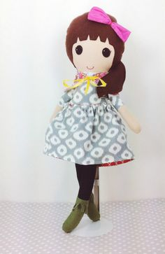 Fabric Doll  Handmade Doll  Brown Haired Girl  by makemineblue