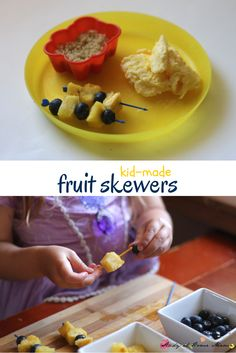 Kids Kitchen: Kid-Made Fruit Skewers - an easy healthy recipe for a kids snack, part of a healthy lunch idea for kids and a great Minion snack!