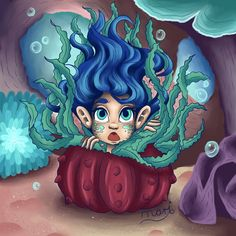 During the night when predators roam the sea, this little thing hides in one of these sea urchins for safety. #illustrationart #illustrations #illustration #digitalart #digitalpainting #ditigal #girl #seascape #sea #seacreatures #seaillustration #bubbles #scaredgirl #seaurchin #bluehair #bookillustrator #bookillustration #childrenillustration Sea Illustration, Digital Illustration, Illustrations, Sea Creatures, Predator, Little Things, Blue Hair, Disney Characters, Fictional Characters