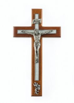 Cherry Wood White Baptism Wall Crucifix - 8 inch
