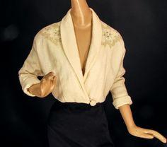 1950s Cream Bolero Jacket with Rhinestones Pearls by cominguproses