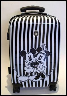 Disney Mickey Minnie Stripe Trolley Wheels Hard Suitcase TSA Lock + FREE Bag Tag