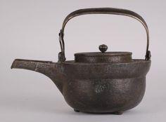"Japanese Edo Period Iron Teapot w/ Silver Parts Condition: very good Dimension: 5 1/8""H x 7""W"