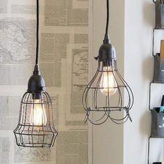 Cheap And Easy Cool Ideas: Hanging Lamp Shades House glass lamp shades how to make. Eclectic Pendant Lighting, Eclectic Chandeliers, Industrial Lighting, Interior Lighting, Wall Lamp Shades, Rustic Lamp Shades, Cool Ideas, Wire Pendant Light, Pendant Lights