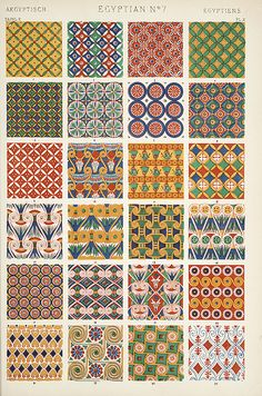 """egyptian / geometric patterns / traditional motives / Image Plate from Owen Jones' 1853 classic, """"The Grammar of Ornament"""""""