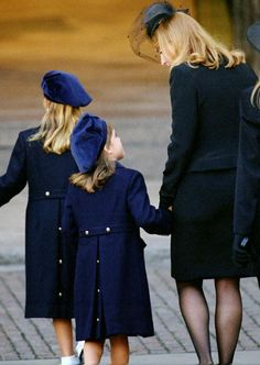Sarah Duchess of York, Princess Beatrice and Princess Eugenie at the Princess of Wales' funeral