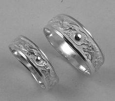 dragon wedding rings   Sterling Silver Dragon Phoenix Rings Wedding Band Set   eBay