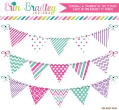 Pink Purple Blue Bunting Clipart – Erin Bradley/Ink Obsession Designs