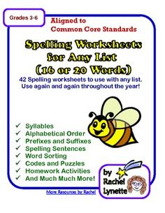 Spelling Worksheets, 54 Activities for 16 or 20 words - Use Any List - Rachel Lynette Spelling Worksheets, Spelling Activities, Literacy Worksheets, Free Worksheets, Spelling Bee, Spelling Words, Phonics Words, Vocabulary Words, Teaching Reading
