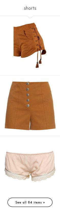 """shorts"" by saddleshoes ❤ liked on Polyvore featuring shorts, bottoms, pant, brown, elastic waistband shorts, stretch waist shorts, elasticated waist shorts, print shorts, embellished shorts and short"