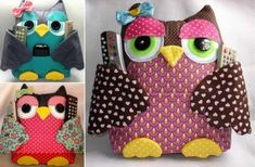 This owl remote control holder sewing pattern has been super popular and it will come in very handy at your home. Tutorial Rag Quilt, Rag Quilt Instructions, Pillow Tutorial, Owl Sewing Patterns, Rag Quilt Patterns, Cute Sewing Projects, Sewing Ideas, Sewing Tutorials, Diy Projects