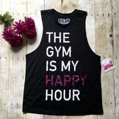 """""""The gym is my happy hour"""" workout tank. Black workout tank. New with tags. Material content shown in last photo. Measurements: armpit to armpit (large arm holes) 17.5 inches and length is 23.5 inches.  ❌ No trades or off Poshmark transactions.   Quick shipping.   Offers welcome through """"Make an Offer"""" feature.    Bundle discount.   ❔ Feel free to ask any questions. Chin Up Tops Tank Tops"""