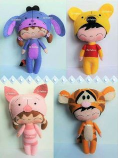 Winnie the Pooh. Felt Crafts Dolls, Felt Crafts Patterns, Felt Decorations, Sewing Dolls, Felt Diy, Soft Dolls, Felt Ornaments, Fabric Dolls, Stuffed Toys Patterns