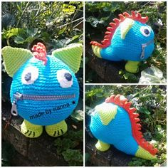Zorgenvriendje monstertje, naar een idee van Rianna Bulten Worry Monster, Crochet Monsters, Dinosaur Stuffed Animal, Toys, Christmas Ornaments, Knitting, Sewing, Holiday Decor, Handmade