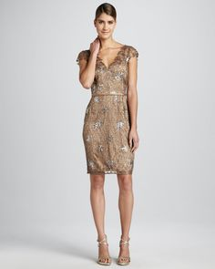 cfb82050da4 Kay Unger New York Sequined Lace Cocktail Dress - Probably one of my  favorite dresses yet. The neckline is playful and fun. The overlay almost  looks like a ...