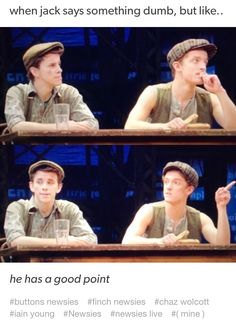 Newsies - Buttons and Finch -When Jack says something dumb but then you're like. he has a good point. Theatre Nerds, Music Theater, Broadway Theatre, Broadway Shows, Theatre Jokes, Tuck Everlasting, Dear Evan Hansen, Newsies Live, Fangirl