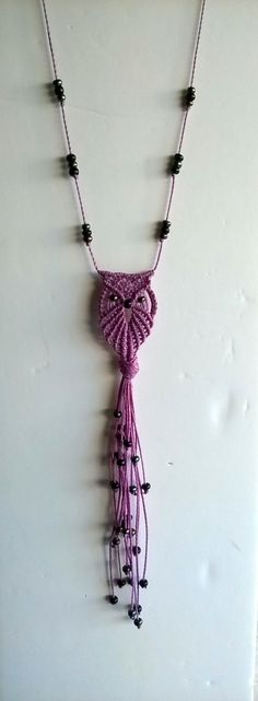 Macrame owl necklace in purple. by asmina on Etsy