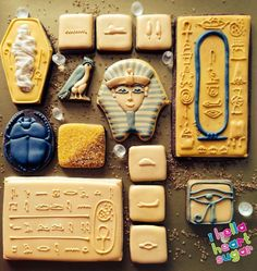 Egyptian Party : Egypt cookies with great toppers such as the mummy and scarab beetle