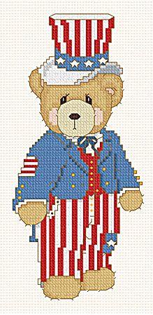 Uncle Sam patriotic bear USA America 4th July cross stitch