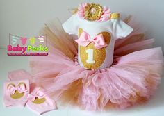 pink and gold first birthday outfit first birthday by MsPerks