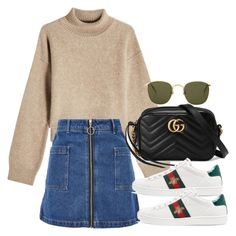 """Untitled #3435"" by camilae97 ❤ liked on Polyvore featuring Rejina Pyo, Topshop, Linda Farrow and Gucci"