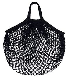 C-Pioneer Cotton Net Shopping Bag Reusable Grocery Bags Ecology Produce Bag (Black)