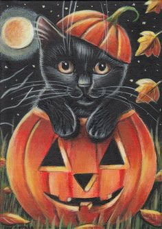 Black Cat Halloween Pumpkin Painting