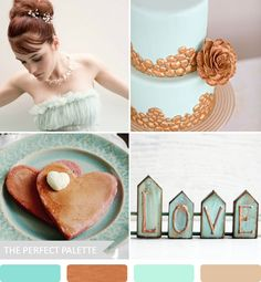 Copper + Mint http://www.theperfectpalette.com/2013/07/party-palette-copper-mint.html