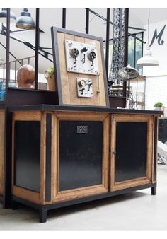 Industrial buffet around 1940 2 doors - - Shabby Chic Furniture, Industrial Furniture, Table Furniture, Painted Furniture, Antique Furniture Restoration, Decoration Palette, Antique Buffet, Grunge Room, Modern Fireplace