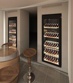 Wine Cellar Modern, Glass Wine Cellar, Wine Cellar Racks, Home Wine Cellars, Wine Cellar Design, Kitchen Room Design, Home Decor Kitchen, Interior Design Kitchen, Alcohol Cabinet