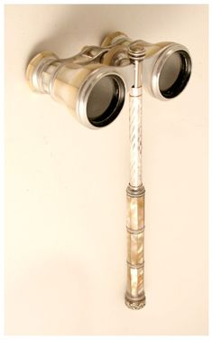 1880 Opera Glasses with Handle Mother of Pearl signed Busch