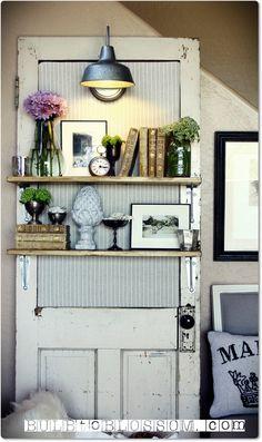 DIY Vintage Door Bookshelf