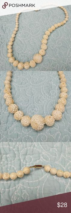 "Vintage Bone Carved Necklace Looks like real ivory.  One bead has some discoloration but not noticeable when worn.  About 24"" long. Found in a relative's home. Vintage Jewelry Necklaces"