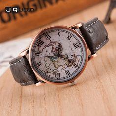 >> Click to Buy << 2017 Fashion Watches Men Relogio Feminino Quartz Wristwatches Classical World Map Roman Numerals Scale Clock Leather Belt Hour #Affiliate