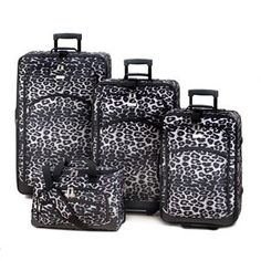 Black And White Leopard Print Luggage