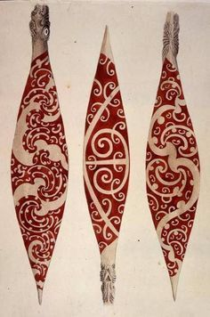 inland-delta: Maori paddles from Captain Cook's first voyage, 1769