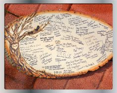 Guest book: slice of tree trunk