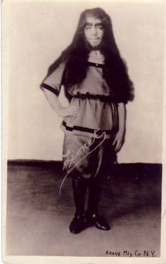 """Dora Gutterman (1903-?)  Lionette The Lion-Faced Girl  Mike Decay, a not-so-distant relative of Dora's, writes: """"The Gutterman family were Russian Jews that descnded from a long line of horse thieves. Dora's family emigrated from Russia by way of London around the turn of the century. Dora was born in 1903 and spent most of her life living in Brighton Beach. She worked at the World Circus Side Show from 1925-1940.  (picture postcard)"""