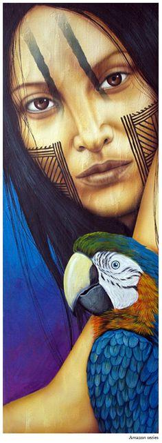 """Series Amazonas""   Mixed media on canvas   Size: 33""x11"""