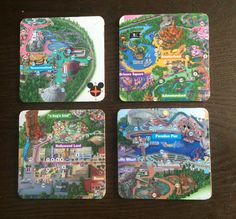Disneyland Map Coasters by DragonflyDecals on Etsy