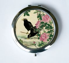 Japanese Crows Flowers Compact Mirror Pocket Mirror by che655