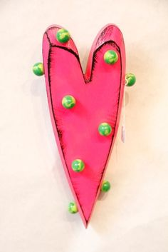 Dot Heart Pink & Green wall piece - great for little girl's room