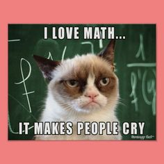 Someone finds the math very difficult and someone very easy.If you find difficult, these Grumpy cat Memes math for you.Just read out these Grumpy cat Memes math and also share with your friends. Grumpy Cat Quotes, Funny Grumpy Cat Memes, Funny Kid Memes, Funny Animal Jokes, Funny Cats, Funny Animals, Grumpy Cats, Cat Jokes, Grumpy Cat Images