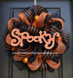 Spooky Halloween Wreath - Mesh Halloween Wreath - Black and Orange Wreath by CreationsbySaraJane on Etsy