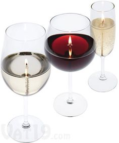 Went to a wedding and the centerpieces were wine glass candles...it was soo cool!  I'm trying this!