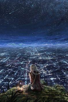 grafika stars, city, and night
