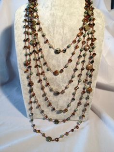 Necklace - Agates with citrine crystals 6 strands