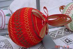 Smocked (!) Christmas ornament, vintage $17.50